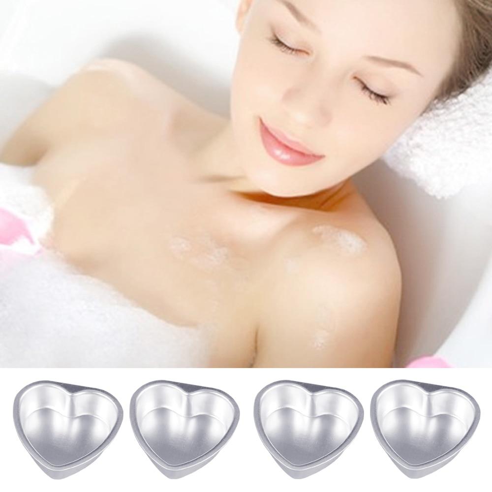 4Pcs DIY Bath Bomb Heart-shaped Molds Aluminum Alloy DIY Bathing Tool Accessories for DIY Homemade Bathing