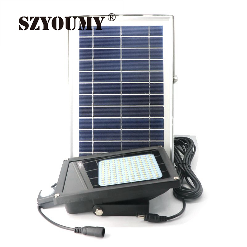 SZYOUMY 6000mah 120 Leds 3528 SMD LED Solar Light 6V 6W Solar Panel Motion Sensor LED Floodlight For Indoor Outdoor 1000Lumen brelong 15w smd 3528 led panel light