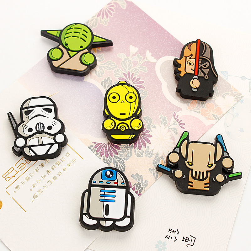 1 Piece Cartoon Star Wars Kids Kawaii Darth Vader Master Yoda C-3PO Stormtrooper Fridge Magnets Souvenir Magnetic Sticker TZ02(China)