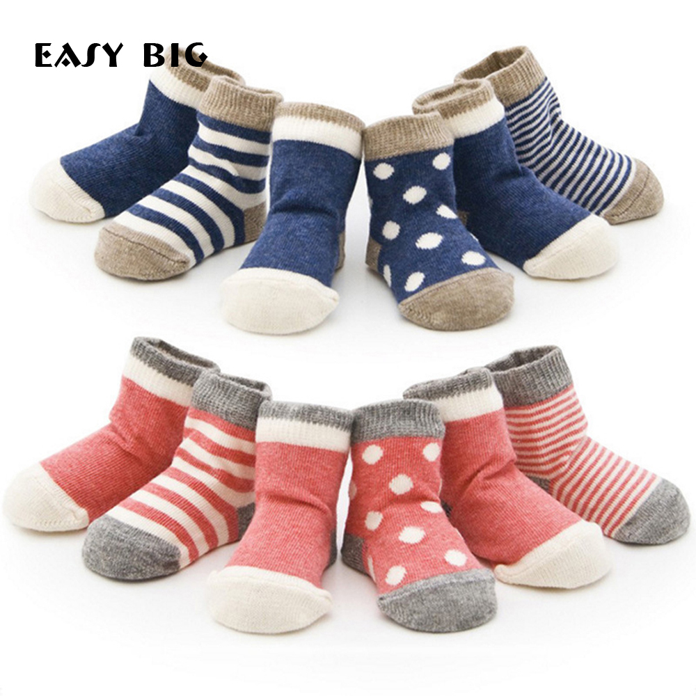 EASY BIG 4Pairs / Pack Combed Bomull Classic Andningsskyddade - Babykläder