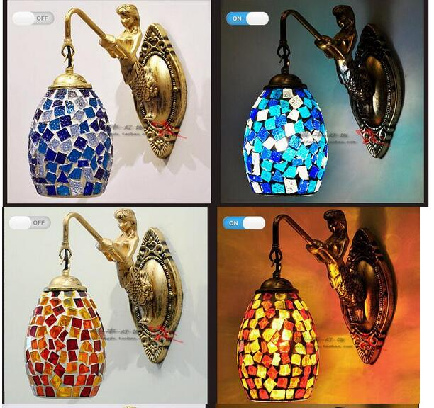 European style glass wall lamp Mermaid living room bedroom bedside lamp mirror headlight aisle balcony wall lamp lamp a1 wall lamp bedside lamp wall lamp european style and simple double bedroom living room warm aisle hotel glass wall lights