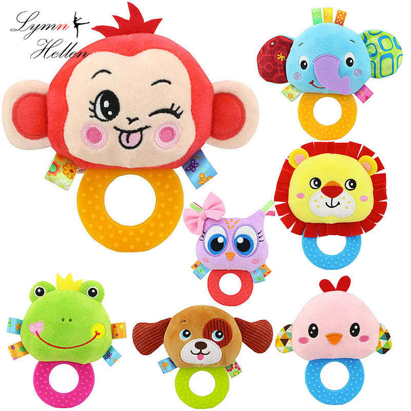 Infant Baby Plush Rattle Stuffed Toy Hand Grasp Teethers Cute Animal Handbell Ring Newborns Early Development Boys Girls Gift