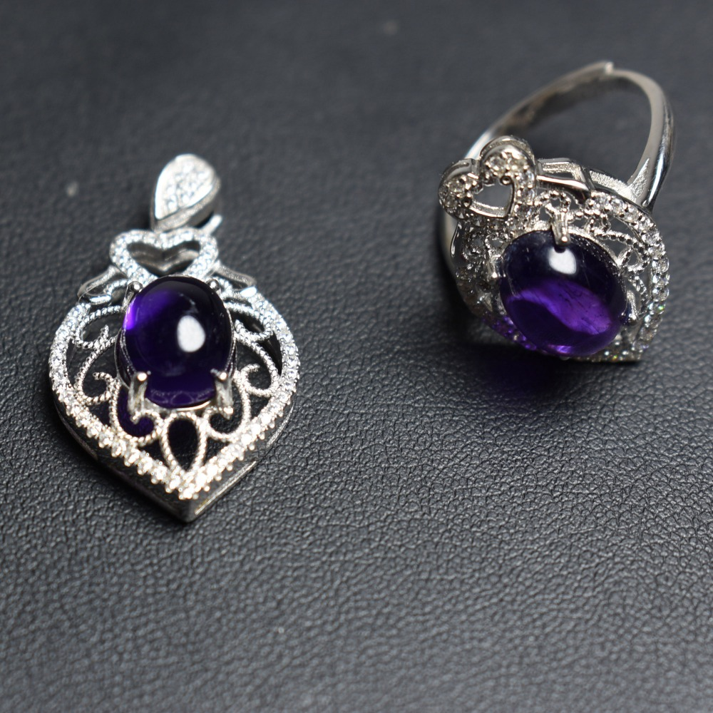 Fine Jewelry Real 925 Sterling Silver S925 Natural Amethyst Stones Gemstone Female Jewelry Sets for Women Fine Jewelry Sets