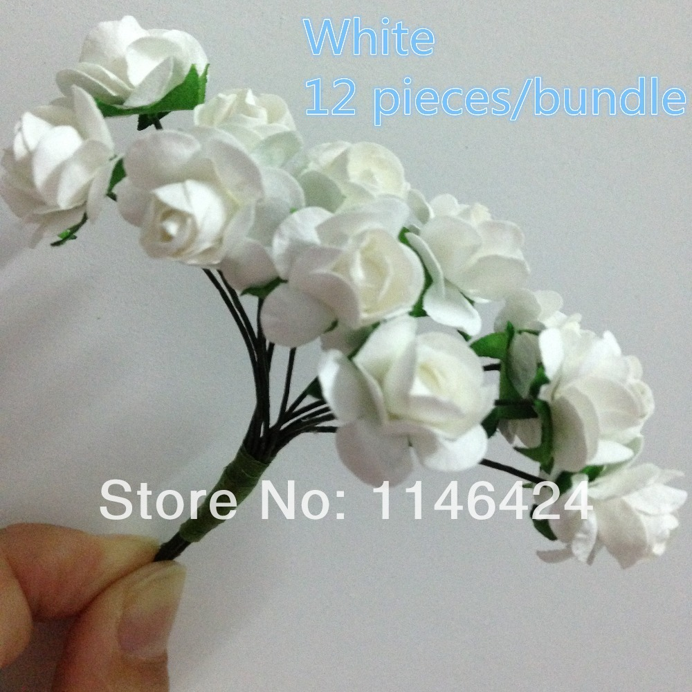 Small flowers for crafts - Free Shipping 144 Pieces Lot White Mulberry Small Craft Paper Flowers Artificial Rose Bouquet