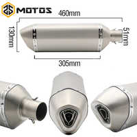 Zs motos 51mm de diâmetro da motocicleta escape longo 460mm akrapovic yoshimura tubo silenciador do escape apto cb600 ktm690 ducati 848 er6n