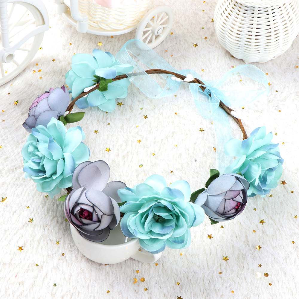 Bohemia Flower Floral Hairband Women Crown Headband Party Wedding Bride Beach   Headwear     Headwear   Ornament
