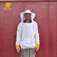 Chất Lượng cao Bảo Vệ Nuôi Ong Jacket Veil Phù Hợp Với Smock Thiết Bị + 1 Cặp Nghề Nuôi Ong Dài Tay Găng Tay