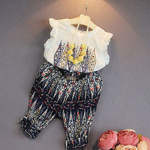 Sweet Girls Baby Summer Clothes Party Floral Vest Tops Pants 2pcs Outfits Hot Girls Clothing Set Girls Clothes Set