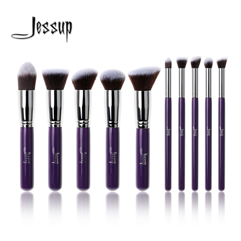 Professional 10pcs Purple/Silver Jessup Brand Makeup Brushes SetS Beauty tools Foundation Kabuki Cosmetics Kits Make up Brush jessup 10pcs makeup brushes sets beauty synthetic hair make up brush tool foundation powder lash brow grommer cosmetics tools
