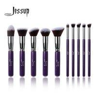 Professional 10pcs Purple Silver Foundation Blush Liquid Brush Kabuki Makeup Brushes Tools Kits