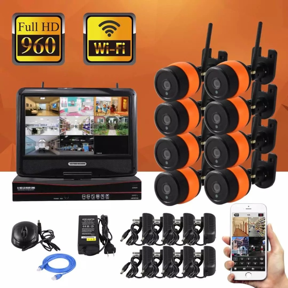 10.1-inch LCD Screen Monitor 8CH 960P Wifi Wireless NVR Recorder Security With 8x 960P 1.3MP Weatherproof Outdoor Dome Cameras