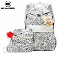 Beautiful Women Backpack Crossbody Bag Set 2017 Fashion Flower Printing Female Bagpack For Teen Girls Laptop