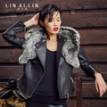 2017 The New Women's Leather Jacket Fur Coat Sheep Skin Fur Short Paragraph Slim Removable Fur Collar Coat
