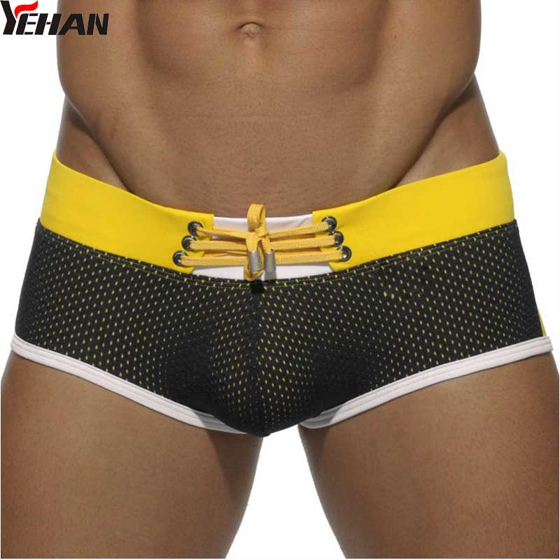 Bathing Suit Men Sexy Nylon Swimwear Patchwork Swim Trunks Low Rise Yellow Maillot Homme Board Shorts Mesh Drawstring buttoned contrast side drawstring shorts