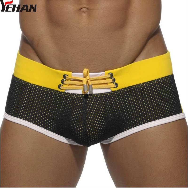 Bathing Suit Men Sexy Nylon Swimwear Patchwork Swim Trunks Low Rise Yellow Maillot Homme Board Shorts Mesh Drawstring