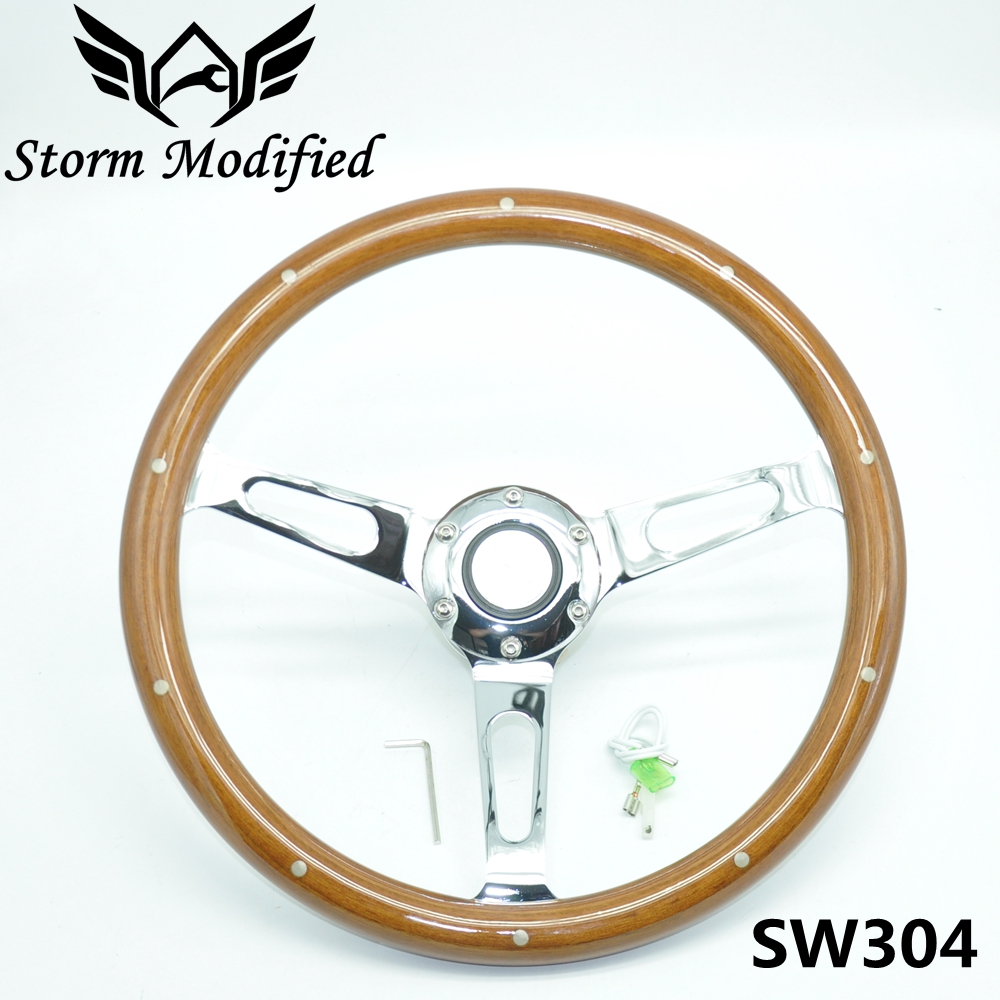 SuTong Universal 350mm Classic Wood Steering Wheel with Rivet 14 inch Wooden Racing Car Steering Wheel with Chrome Spoke SW304 new 320mm yellow pvc sport spoke car racing steering wheel carbon firbre horn button ep fxp06om p