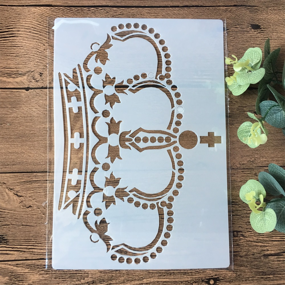 A4 Crown DIY Layering Stencils Painting Scrapbook Coloring Embossing Album Decorative Paper Card Template