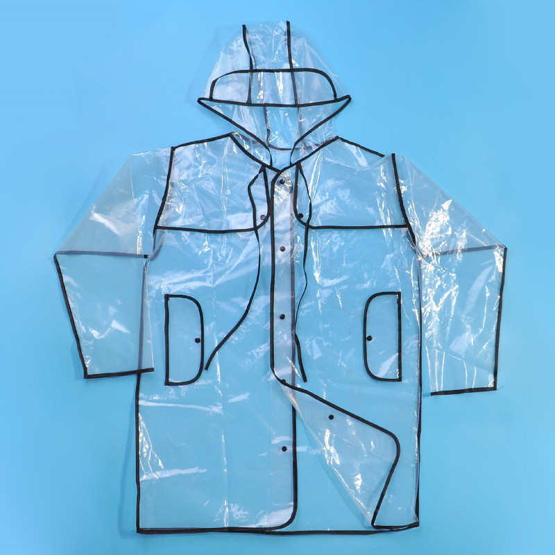 EVA Transparent Raincoat With Belt Long Rain Coat Women Jacket Waterproof Windbreaker Hooded Outdoors Rainwear