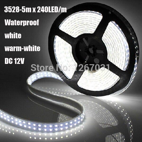 3528 1200Led DC 12V Waterproof IP65 Double Row Flexible LED Strip Book light Holiday Lighting 5m Reel White Warm-white Desk Lamp 12w 6500k 1100lm 150 smd 3528 led white light flexible lamp strip dc 12v 5m