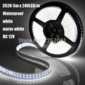 3528 1200Leds 240 leds / meter DC12V Waterproof IP65 Double Row LED Flexible Strip light SMD 5M / reel white Warm-white