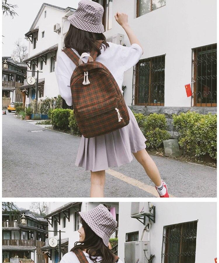 2 Pieces Japan style Plaid Style Women Backpack Pencil Case Student Girl School Bag Travel Shoulder Bag For Women 2019 Bagpack