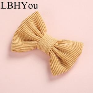 Image 5 - Cute Children Girls Corduroy Bows Hair Clips New Fashion Handtie Fabric Hairpins Kids School Girls Hair Barrettes