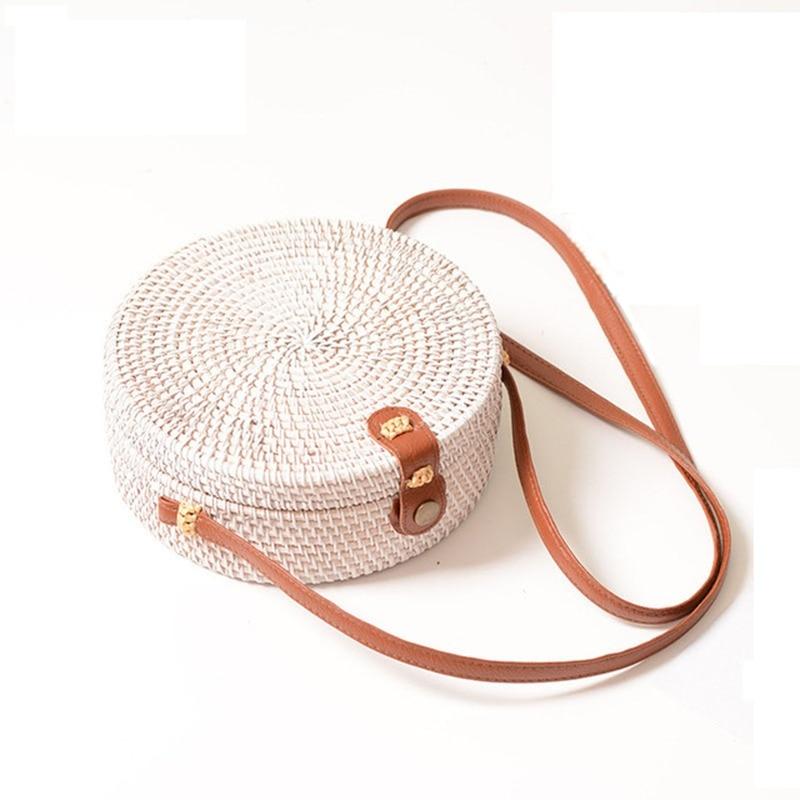 Persevering Women Handmade Round Beach Shoulder Bag Circle Straw Bags Summer Woven Rattan Handbags Women Messenger Bags black Bag Parts & Accessories