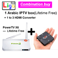Арабский TV Box нет необходимости абонентскую плату навсегда бесплатно TV Box, 500 + Арабские Африка Сомали Ливан каналы + HDMI Конвертер