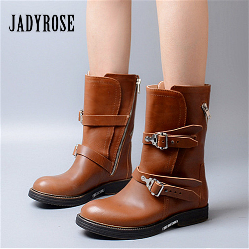Jady Rose 2018 New Women High Boots Straps Female Genuine Leather Platform Rubber Martin Boots Autumn Winter Flat Botas Mujer jady rose vintage brown women genuine leather mid calf boot chunky high heel platform boots straps buckle decor martin botas