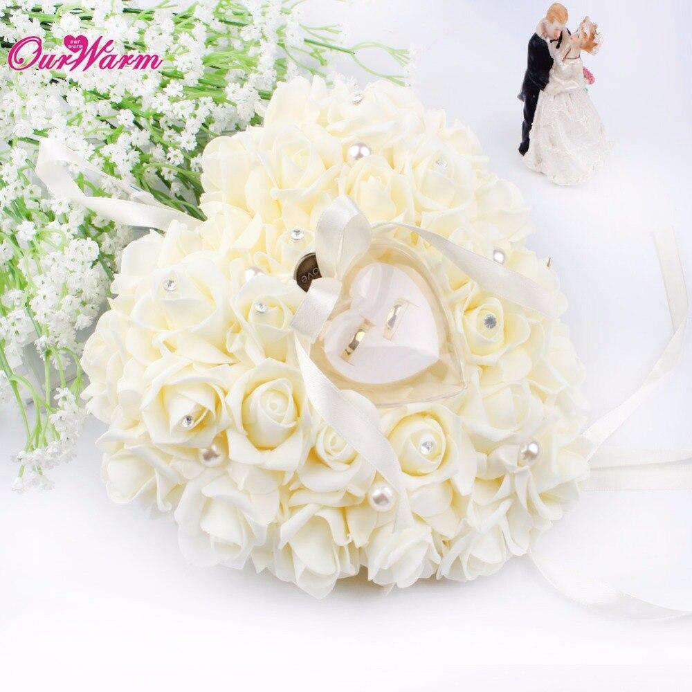 Hanging Wedding Favors Ring Box Rose Rhinestone Heart Design Ring ...