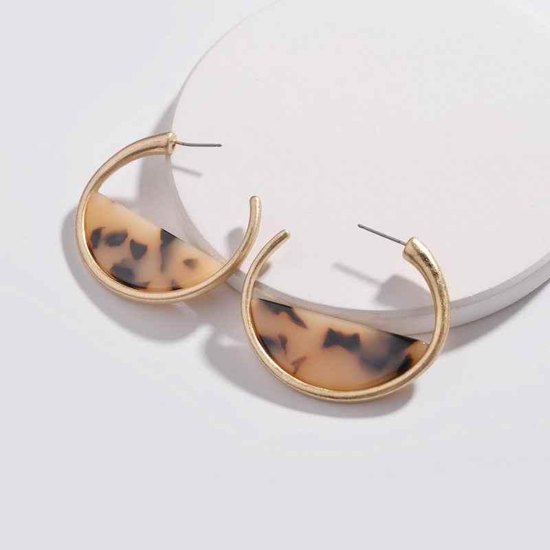 85ffe2b4a Gold Tone Polished C Shape Leopard Tortoise Resin Acrylic Dangle DROPS  Statement Hoop Earrings for Women