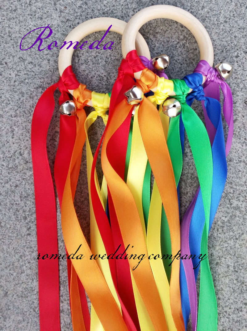 New Arrived 100pcs lot Rainbow Color Stain ribbon Wooden Ring Waldorf Ribbon With Bell Hand Kite