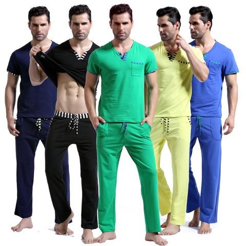 WJ Men Cotton Pajamas Set Sleepwear Bottoms Long Pant Casual Wear Short-Sleeved Shirt Leisure Suit (for a Suits) Lahore