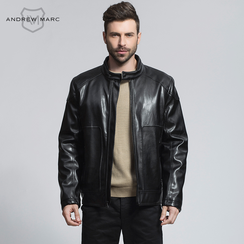 a1192980e91 ANDREW MARC Men PU Leather Suede Jackets Coat Standing Collar Fashion PU  Outwear Big Brand Faux Leather Coats TM6AP147-in Faux Leather Coats from  Men s ...