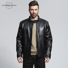 ANDREW MARC Men PU Leather Suede Jackets Coat Standing Collar Fashion PU Outwear Big Brand Faux Leather Coats TM6AP147