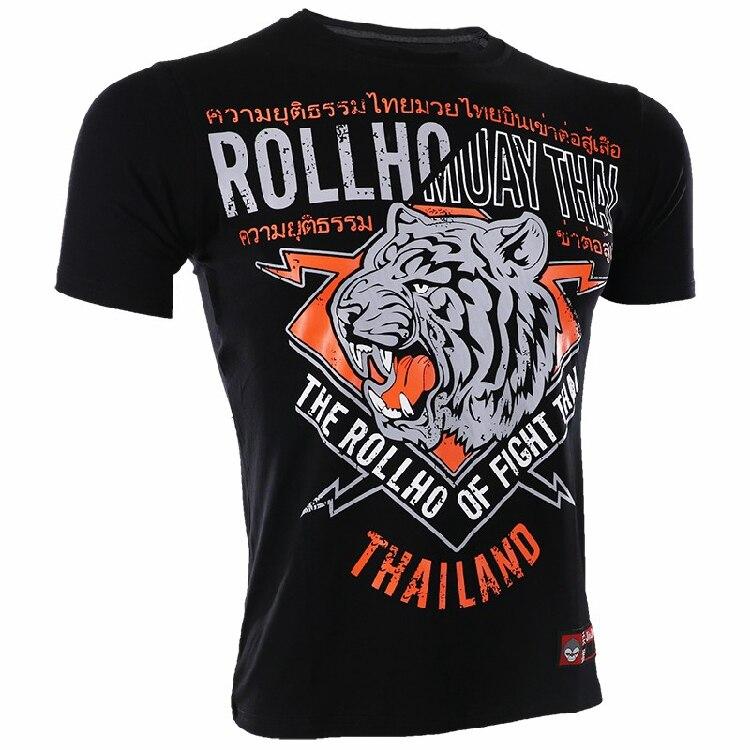 Soft Monkey ROLLHO Muaythai Broadcast Short Sleeve T Shirt  Fight Tiger Boxer Wu Linfeng Sports Male