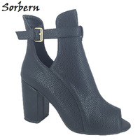 Black Peep Toe Ankle Boots Chunky Heels Real Photos Oepn Toe Boots Women Short Ankle Boots