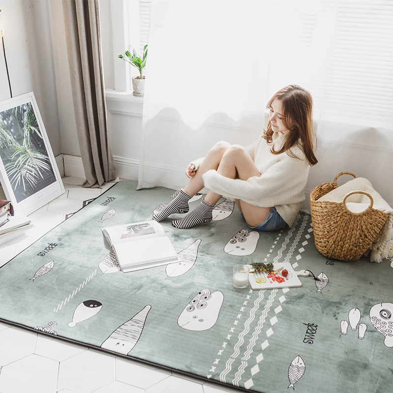 Infant Shining Simple Baby Play Mat 190X195CM Large Mat Multifunction Suede Rug Machine Washable Bedside Baby Crawling Pad