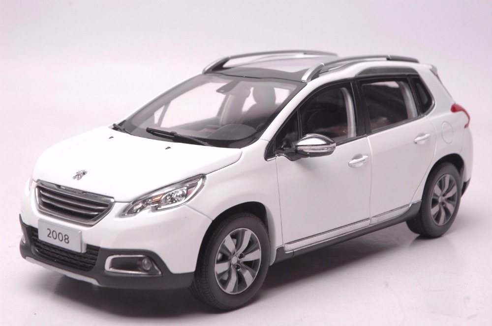 1:18 Diecast Model for Peugeot 2008 White SUV Alloy Toy Car Miniature Collection Gift 1 18 vw volkswagen teramont suv diecast metal suv car model toy gift hobby collection silver