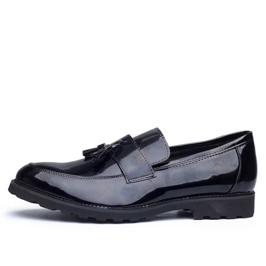 4c107bc9d29ef Oudiniao Men Shoes Big Size Casual 2017 Tassel Loafers Black Slip On Patent  Leather Mens Vintage Waterproof Fringe Shoes Men
