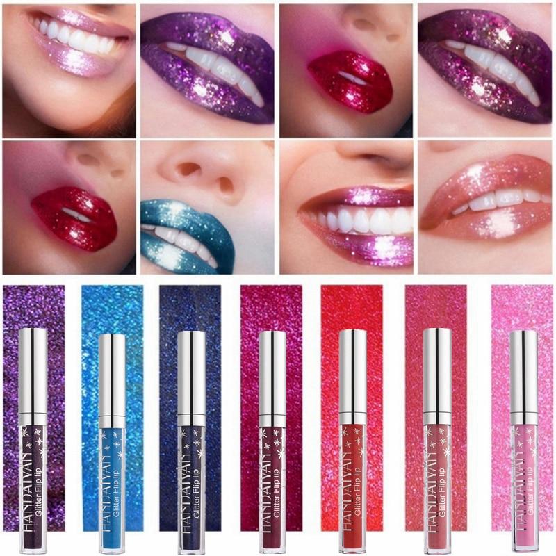 7 Color Glitter Lipstick Long Lasting Waterproof Shimmer Shiny Red Lip Gloss Make Up Metallic Blue Purple Pink Liquid Lipsticks