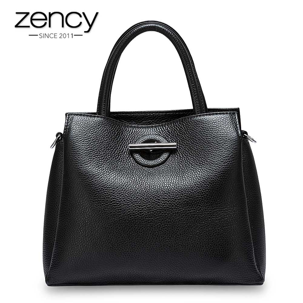 Zency Fashion Women Tote Bag 100% Genuine Leather Handbag Black Lady Crossbody Messenger Purse High Quality Shoulder Bags zency 100% genuine leather fashion grey women shoulder bag more compartments hobos lady crossbody messenger purse tote handbag