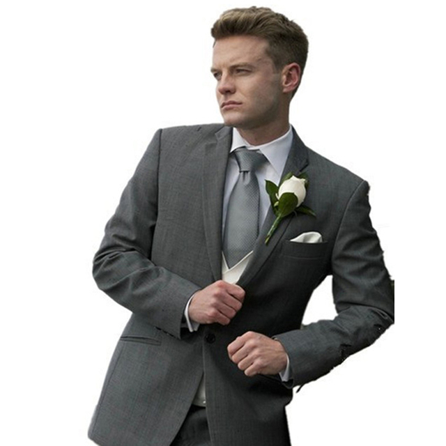 Custom made evening suits  Grey 3 Piece Wedding Suits Groom Tuxedos suit dress pants Business Suits 2016 Custom Made Handmade
