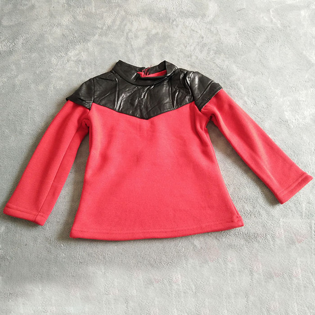 wholesale(5pca/lot)-2016 winter PU leather thicken pullover Sweatshirt for 2-7 child girl