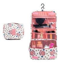 High Quality Korean Print Cosmetic Bag Ladies Travel Portable Cosmetics Wash Bag's Hook Large Capacity Portable Storage Bag portable high capacity travel storage bag