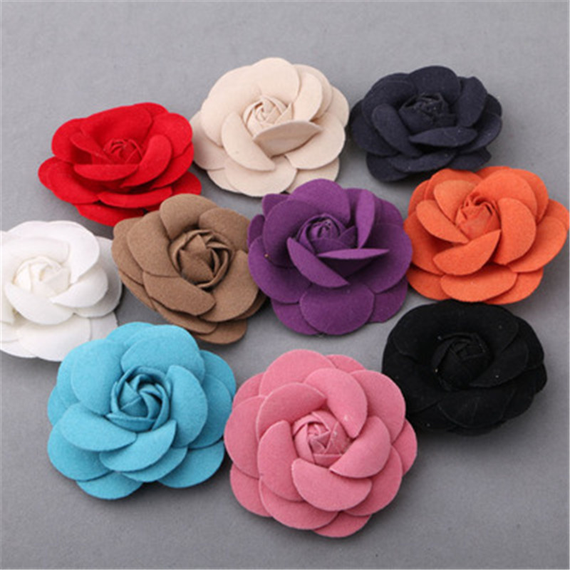 Free Shipping 30pcs Mixed Color 3d Wool Felt Flowers Fit For Girls