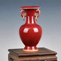 Antique Jun Porcelain Vase Double Ears Jingdezhen Vintage Vase For Living Room Antiques Shelf Chinese Handicrafts