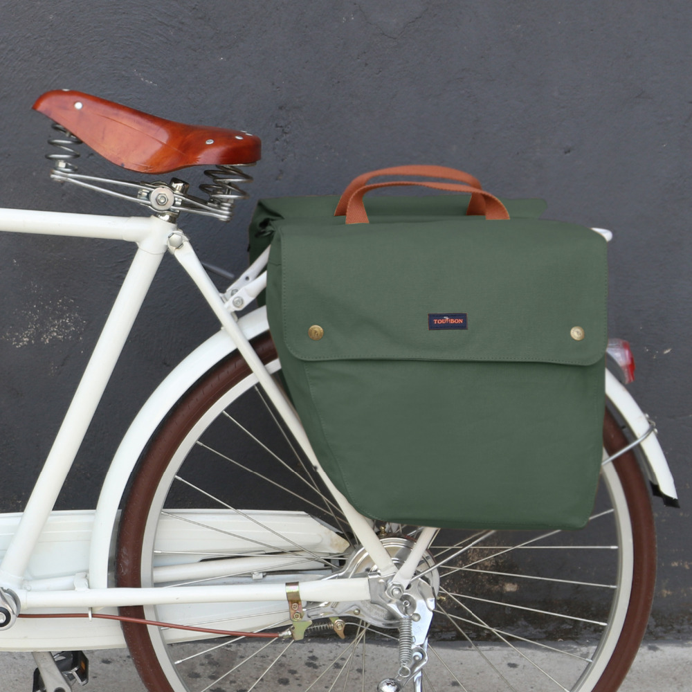 Tourbon Vintage Bicycle Back Seat Pannier Cycling Zadní stojan kufr Bike Luggage Two Storage Bags 23L Water Repellent Wax Canvas