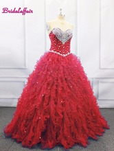Red Crystal Prom Dress Ball Gown Quinceanera Dresses 2019 Beaded Crystals Ruffles Party girl flower dress sweet 16 gowns