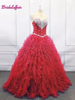 Red Crystal Prom Dress Ball Gown Quinceanera Dresses 2019 Beaded Crystals Ruffles Party Dress girl flower dress sweet 16 gowns